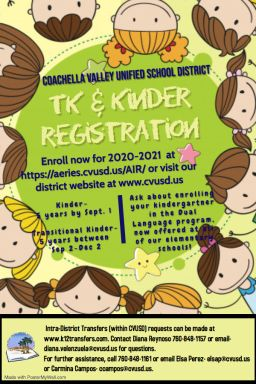 TK & Kinder Registration for 2020-2021 / Registro de TK y Kinder para 2020-2021