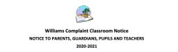Willaims Complaint Classroom Notice
