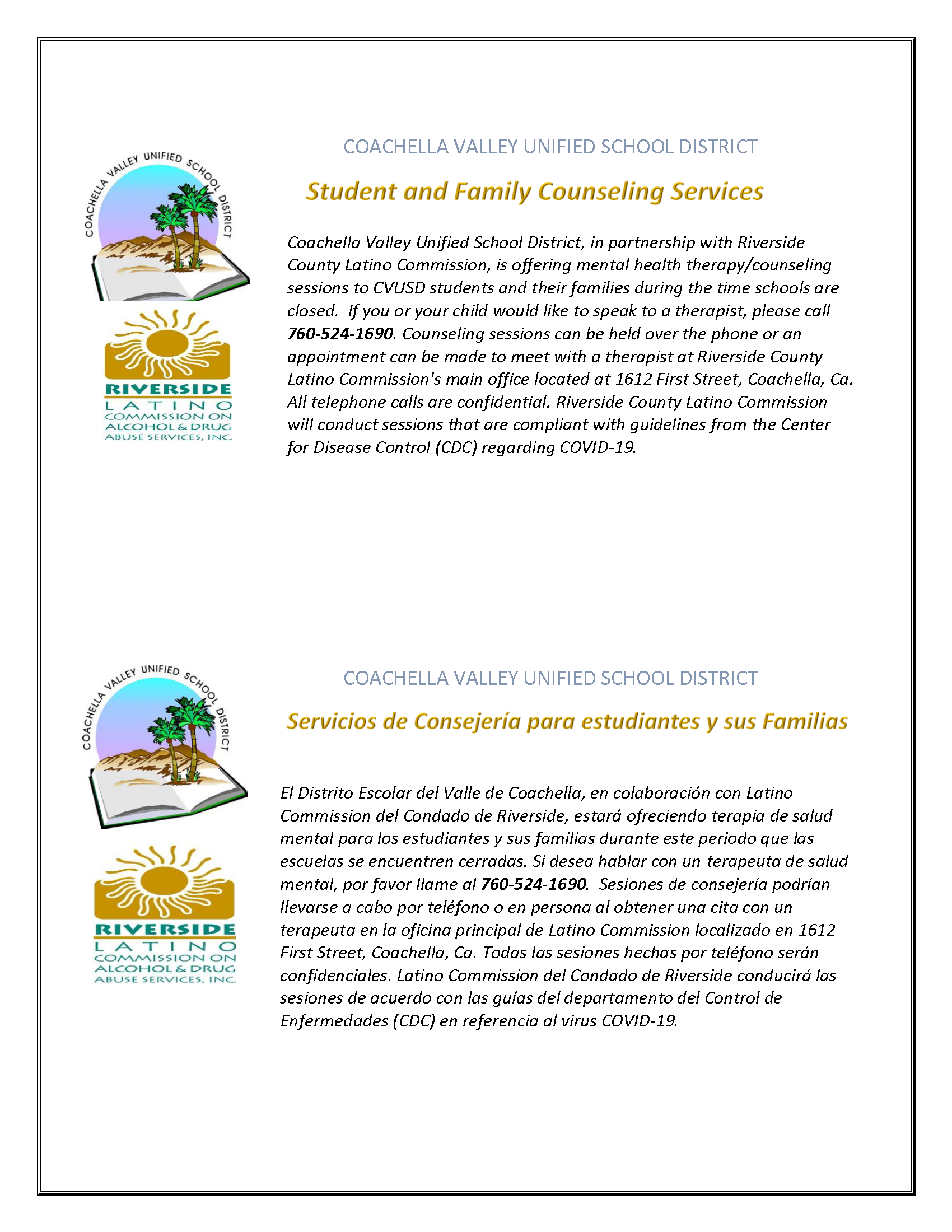 CVUSD, in partnership with Riverside County Latino Commission
